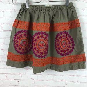 PEEK FLEUR Tan Floral Embroidered Full Skirt Boho